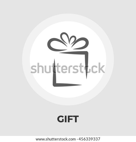 Gift box flat icon isolated on the white background. - stock photo