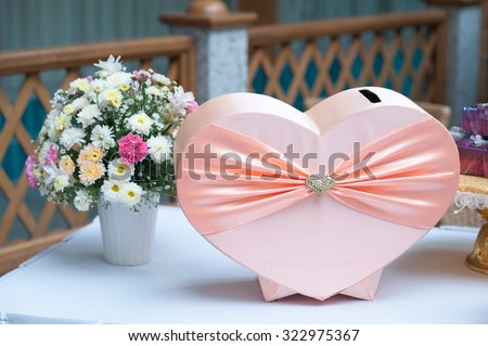 gift box for Thai wedding party in heart shape style,Heart gift box of pastel colors. wedding's Day and love concept.  - stock photo