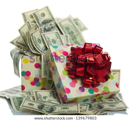 Gift box full of $100 dollar bills. Isolated on white - stock photo