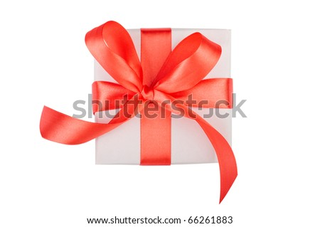 Gift box  isolated on white. top view. - stock photo