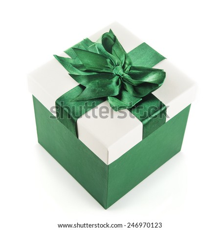 Gift box isolated over white background - stock photo