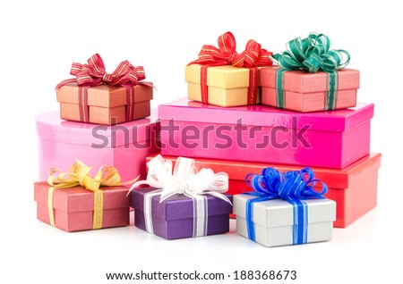 Gift box isolated white background - stock photo