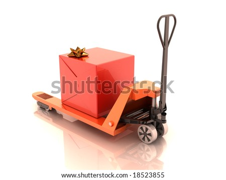 Gift box on the cart 3d rendering - stock photo