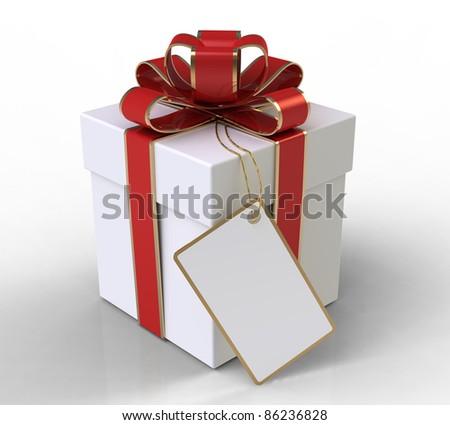 Gift box on white background - stock photo