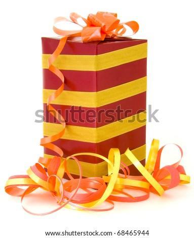Gift box & ribbons on white background. - stock photo