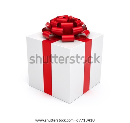 Gift box white isolated with red ribbon and bow - stock photo