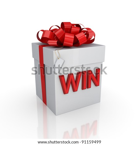 Gift box with a signature WIN.Isolated on white background. 3d rendered. - stock photo
