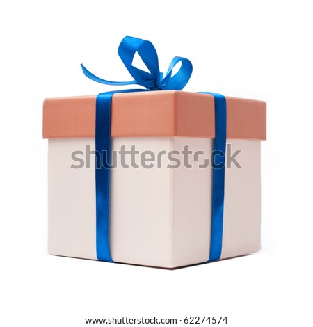 gift box with blue ribbon and bow isolated over white - stock photo