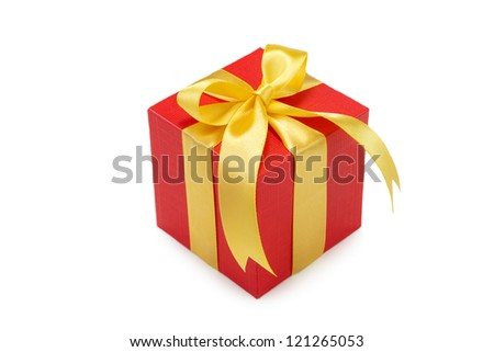 Gift box with bow and ribbon on white background - stock photo