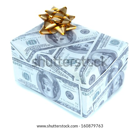 Gift box with bow covered dollars isolated on white - stock photo