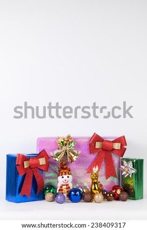 gift box with christmas balls on white background clipping path included . - stock photo