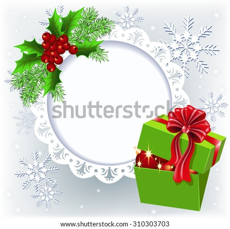 Gift box with Christmas decoration round frame for text or photo - stock photo