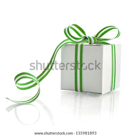 gift box with  green white stripe tape isolated on white background - stock photo
