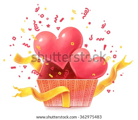 Gift box with hearts. Valentines day - stock photo