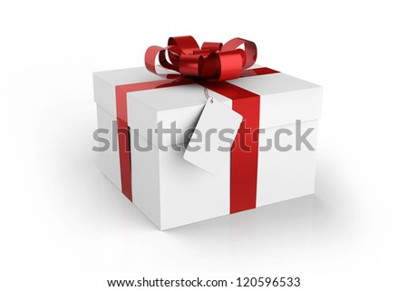 gift box with note isolated on white background - stock photo