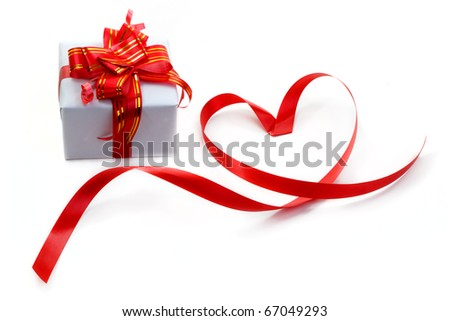 gift box with red bow isolated on white - stock photo