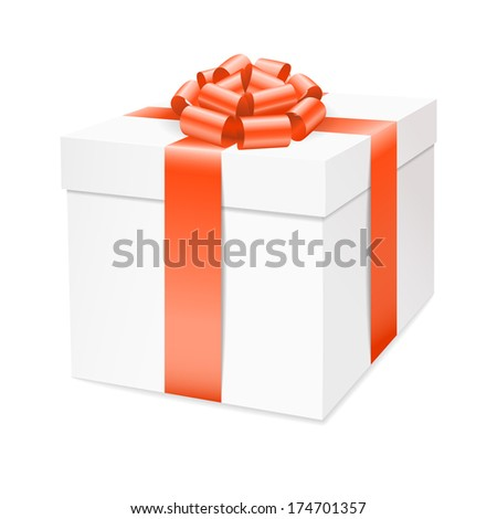 Gift box with red bow ribbon isolated on white. Raster version. - stock photo