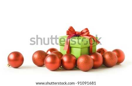 gift box with red new year balls - stock photo