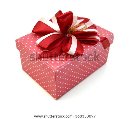 Gift box with ribbon isolated on white - stock photo