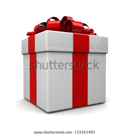 gift box, with ribbon like a present. over white background 3d illustration. - stock photo