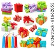 Gift boxes collection isolated on white background - stock photo