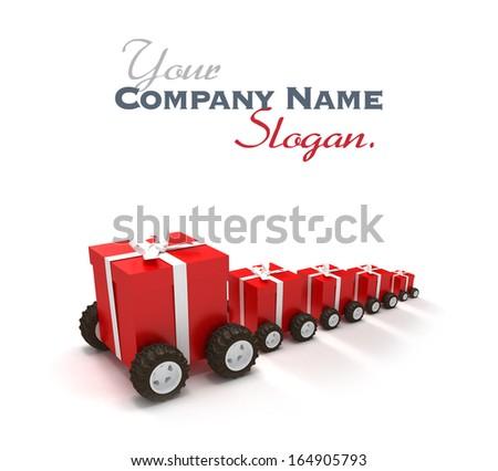 Gift boxes convoi - stock photo
