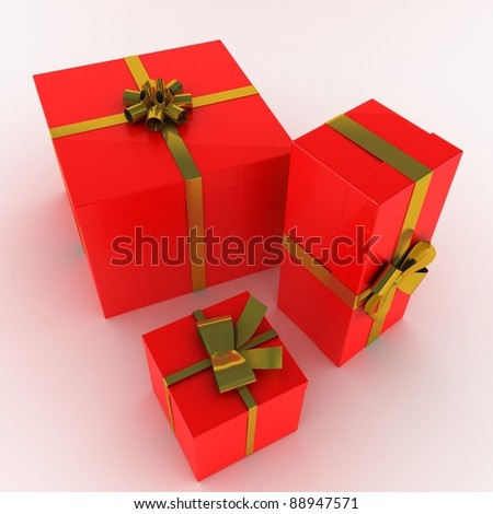 Gift boxes decorated - stock photo