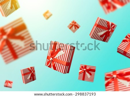 Gift boxes flying. Shopping sale concept background - stock photo