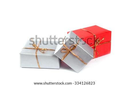 Gift boxes isolated on white background - stock photo