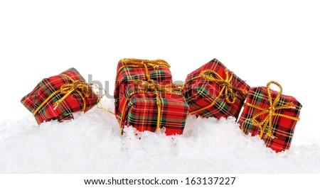 Gift boxes over white background - stock photo