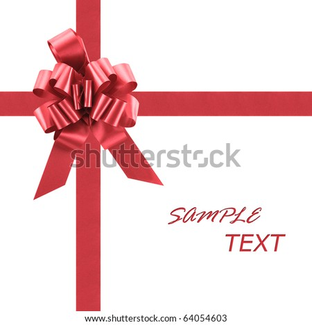 Gift Boxes Red Holiday Bow With Ribbon (with clipping patch) - stock photo
