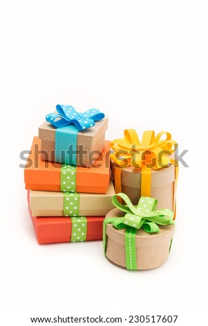 Gift boxes with beautiful ribbons - stock photo