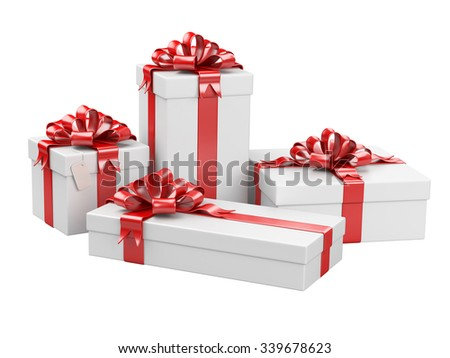 Gift boxes with blank gift tag isolated on a white background - stock photo