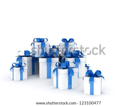 Gift boxes with blue ribbon - stock photo