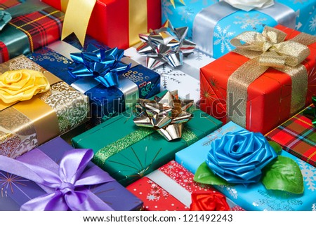 Gift boxes with bow and ribbon - stock photo