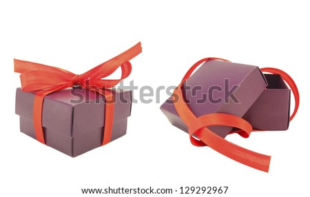 Gift  boxes with bow open - stock photo