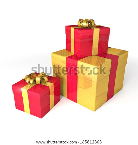 Gift boxes with bows and ribbon on white - stock photo