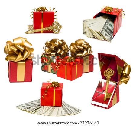 gift boxes with key and money - stock photo
