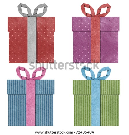 gift boxes with ribbon recycled  papercraft . - stock photo