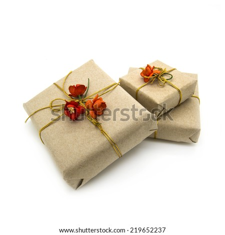 Gift boxes wrapped brown paper and decorated red flowers. White background. - stock photo