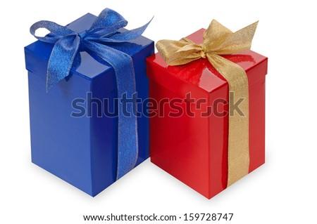 Gift boxs, isolated on white  - stock photo