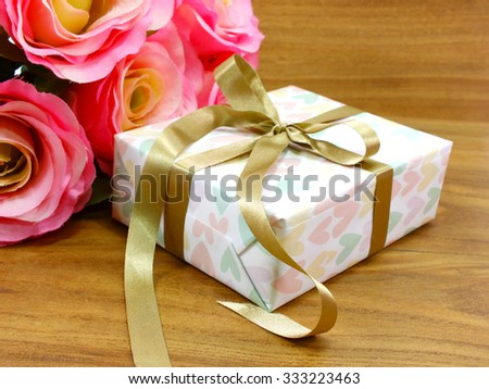 gift boxs present with ribbon decorations for christmas and new year festival - stock photo
