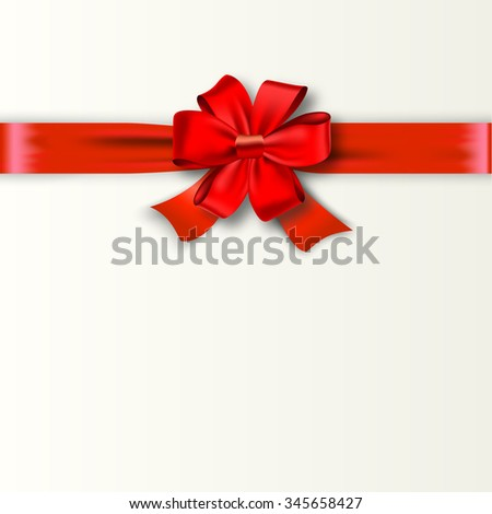 Gift Card Design with red Bow with Place for Text. Illustration. Invitation Decorative Card Template, Voucher Design, Holiday Invitation Design.   Raster version. - stock photo