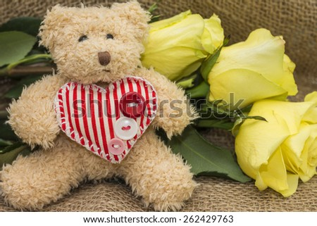 Gift card for birthday - teddy bear and yellow roses - stock photo