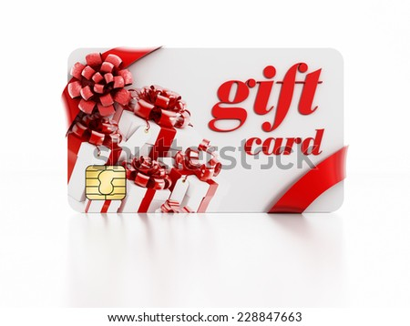 Gift card isolated on white background. - stock photo