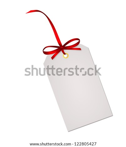 Gift card note with red ribbon bow isolated on white background - stock photo