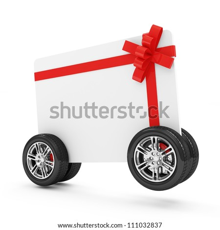 Gift Card on Wheels isolated on white background - stock photo
