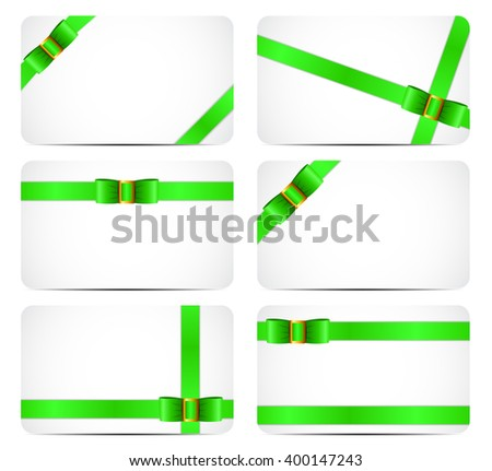 Gift Card Set with Green Ribbon and Bow. illustration  - stock photo