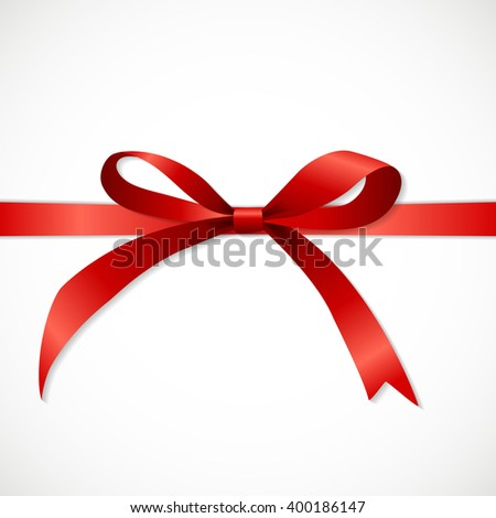 Gift Card Set with Red Ribbon and Bow. illustration.  - stock photo