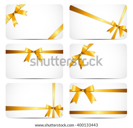 Gift Card with Gold Ribbon and Bow. illustration  - stock photo